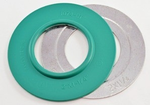 """Mighty-Seal® 2"""" to 1-1/4"""" Raintight Reducing Washers. Product contains one coated and one uncoated galvanized steel reducing washer. Maintains Raceway Integrity. Sunlight Resistant. Suitable for use in Wet Locations.-0"""