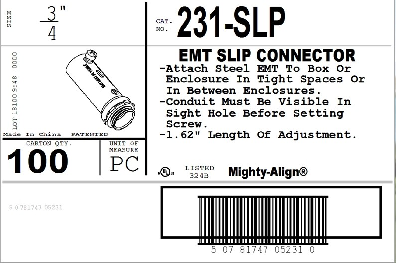 "Mighty-Align® SLP Series Steel Slip 3/4"" EMT Connectors-3"