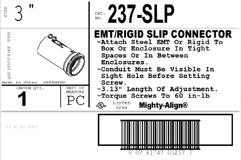 "Mighty-Align® SLP Series Steel Slip 3"" EMT/Rigid Connectors-2"