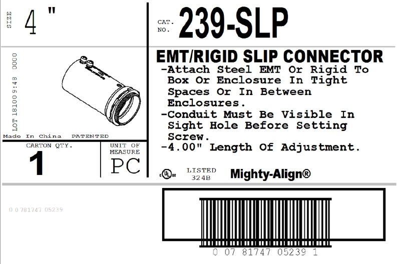 "Mighty-Align® SLP Series Steel Slip 4"" EMT/Rigid Connectors-2"