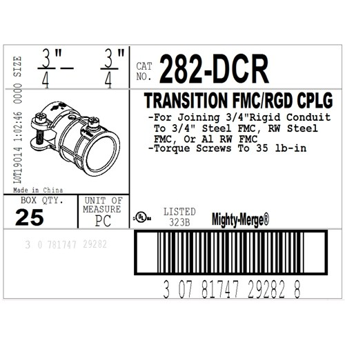 """Mighty-Merge® Threadless Rigid to FMC Transition Fitting, 3/4""""-3"""