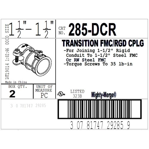 """Mighty-Merge® Threadless Rigid to FMC Transition Fitting, 1-1/2""""-2"""