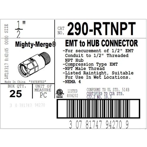 "Mighty-Merge® Raintight NPT 1/2"" EMT to Threaded Entry Connector-3"