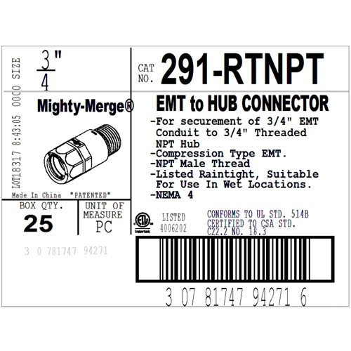 "Mighty-Merge® Raintight NPT 3/4"" EMT to Threaded Entry Connector-3"
