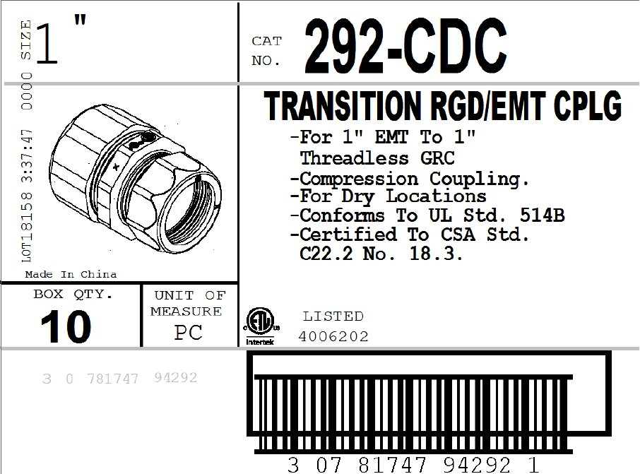 Compression Transition Coupling, Threadless Rigid/IMC to EMT, Zinc Die Cast, 1 Inch-2