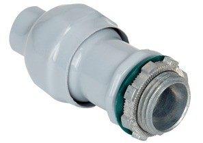 Direct burial rated Mighty-Seal® jacketed MC cable connector. Polyolefin coated zinc body. Concrete tight, raintight and listed for direct burial.-0