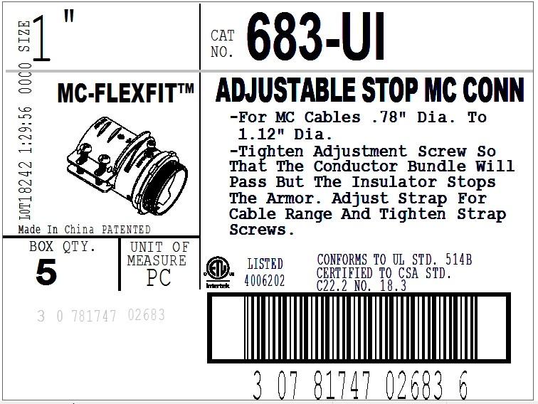 Connector, Adjustable Endstop, MC Feeder Cable, Two Screw, Steel, 1 Inch-2