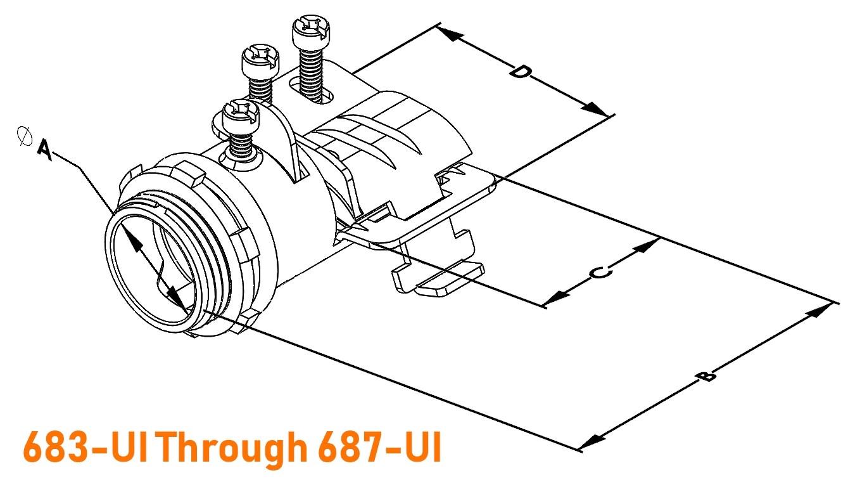 Connector, Adjustable Endstop, MC Feeder Cable, Two Screw, Steel, 2-1/2 Inch-1