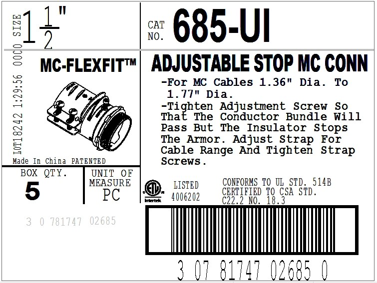 Connector, Adjustable Endstop, MC Feeder Cable, Two Screw, Steel, 1-1/2 Inch-2