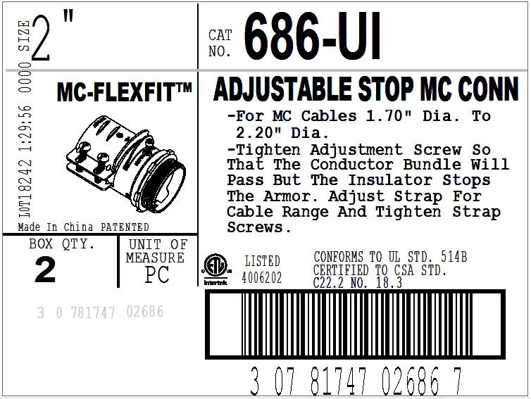 Connector, Adjustable Endstop, MC Feeder Cable, Two Screw, Steel, 2 Inch-2