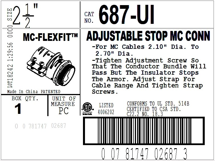 Connector, Adjustable Endstop, MC Feeder Cable, Two Screw, Steel, 2-1/2 Inch-2