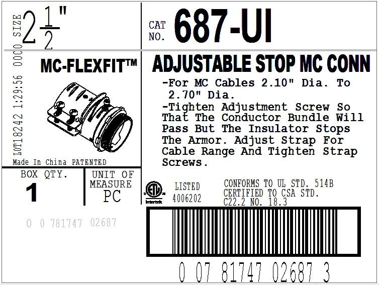 Connector, MC-FLEXFIT™, Adjustable Endstop, MC Feeder Cable, Two Screw-16