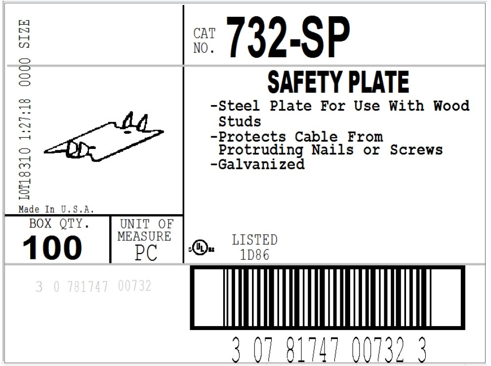 """Plate, Safety, Steel, 2.75""""-3"""