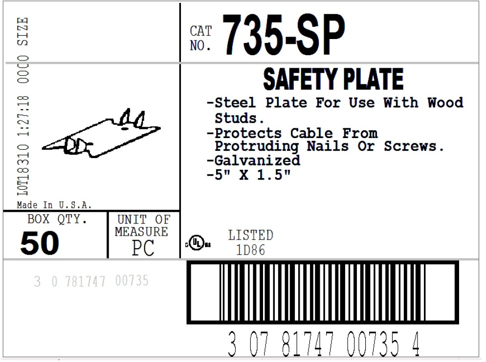 "Plate, Safety, Steel, 5""-2"