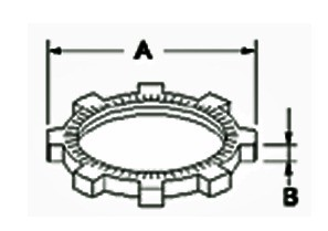 Locknut, Conduit, Zinc Die Cast, Fitting Locknut, Size 1/2 Inch-1