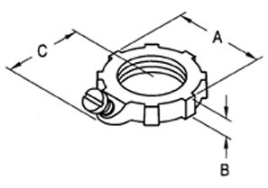 Locknut, Bonding, Steel, Size 1 1/4 Inch-1