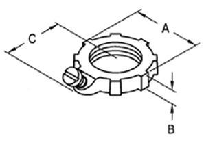 Locknut, Bonding, Steel, Size 1 1/2 Inch-1