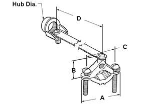 Clamp, Brass Ground, Strap and Hub, Brass, Steel Screw, Hub Size 1/2 Inch-1