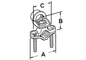 "Clamp, Ground, Threaded Hub, Brass, Rigid Conduit Size 1/2 Inch 1-1/4"" - 2""-1"