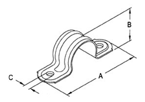 Strap, Two Hole Pipe, Steel-1