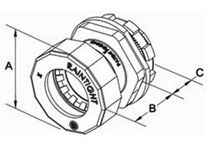 Bridgeport Fittings Mighty-Seal® 3/4 inch EMT Connectors are used to connect a 3/4 inch EMT raceway to a box, device or enclosure. The 251MSRT 3/4 inch Mighty-Seal® connector is UL listed for use in wet locations. Raintight. Patented-1