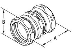 """Raintight Coupling, Compression, Steel, Size 1-1/2""""-1"""