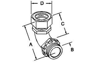 Connector, Compression, 90 Degree, Zinc Die Cast, Size 1/2 Inch-1