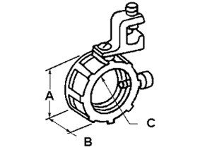 Bushing, Insulated, Grounding, Malleable Iron, Size 1 1/2 Inch, 14-1/0 Lug-1