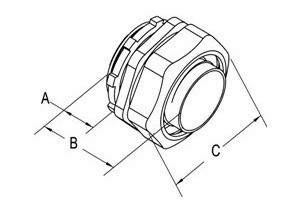 Connector, Liquid Tight, Zinc Die Cast, Size 3/4 Inch-1