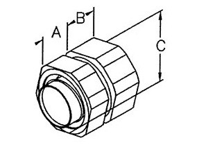 "Combination Coupling for transitioning between 3/8"" Liquidtight Flexible Metallic Conduit (LFMC) and 1/2"" Rigid Steel Conduit.  NPSM Threads on Hub.  Malleable Iron Body with Steel Ferrule-1"