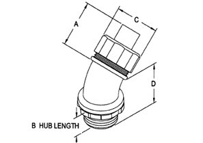 Connector, Liquid Tight, 45 Degree, Size 3/8 Inch-1