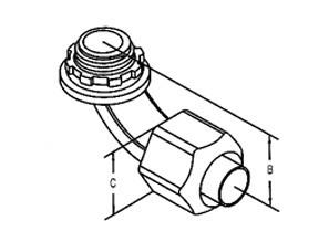 Connector, Liquid Tight, 90 Degree Non-Metallic, Size 1/2 Inch-1