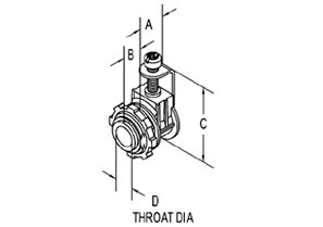 Connector, Strap, Single Tri-Drive Screw, Zinc Die Cast, Insulated Throat, 3/8 Inch FMC 12/2 - 10/4 NM-1
