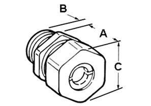 Connector, Cord Grip, Straight, Zinc Die Cast, Size K.O. 1/2 Inch, Cord Range .250 Inch - .375 Inch-1