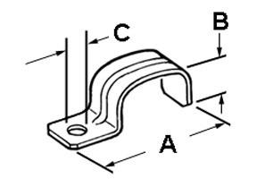 Strap, Service Entrance, One Hole, Steel, SE/SEU Cable Size #3, #3, #2-1