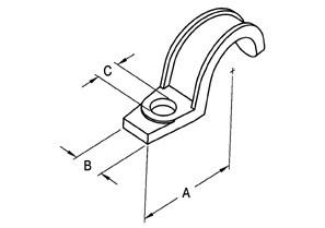 Strap, One Hole Pipe, Malleable Iron, Size 1 1/2 Inch-1