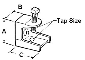 Clamp, Beam, Insulator Support, Malleable Iron, Tap Size (UNC) 1/4-20,  125 lbs Max Load.-1