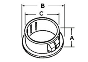 "Bushing, Insulating, Plastic Rated 105 Degrees C, 1 1/2"" Trade Size, Fits 2.000"" Actual Hole Dia.-1"