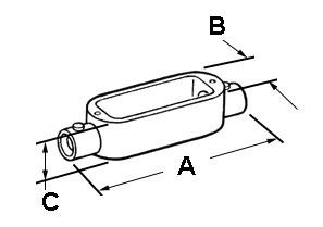 EMT Conduit Body, Type C, Set Screw, Aluminum, Size 1/2 Inch-1