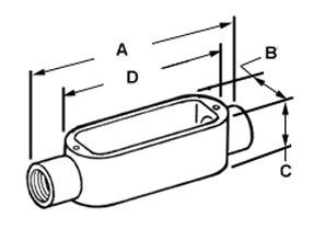 Rigid and IMC Conduit Body, Type C, Aluminum, Size 1/2 Inch-1