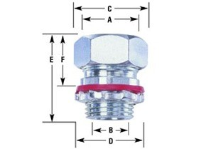 "Connector, cord grip, straight, aluminum, k.o. size 1"", cord range .450-.560-1"
