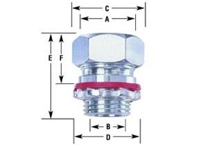 "Connector, cord grip, straight, aluminum, k.o. size 1"", cord range .650-.750-1"