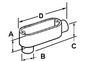 EMT Conduit Body, Type LB, Set Screw, Aluminum, Size 1/2 Inch-1