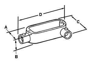 EMT Conduit Body, Type LL, Set Screw, Aluminum, Size 2 Inch-1