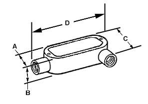 Rigid and IMC Conduit Body, Type LL, Aluminum, Size 1 1/2 Inch-1