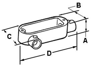 EMT Conduit Body, Type LR, Set Screw, Aluminum, Size 1 Inch-1
