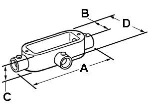 EMT Conduit Body, Type T, Set Screw, Aluminum, Size 1/2 Inch-1