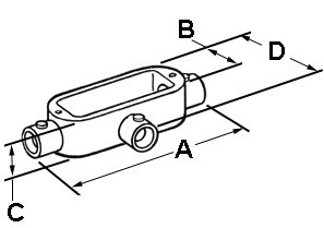 EMT Conduit Body, Type T, Set Screw, Aluminum, Size 2 Inch-1