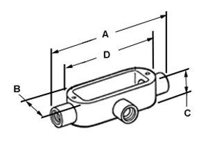 Rigid and IMC Conduit Body, Type T, Aluminum, Size 1 1/4 Inch-1