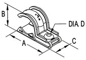 """One piece clamp back and strap combination, 1 hole, Stainless Steel, 3/4"""" - 1"""" Trade Size. Patented.-1"""